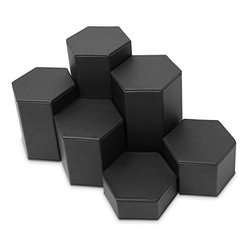 Mooca Black Leatherette Jewelry Display Riser Set, 6 Pieces