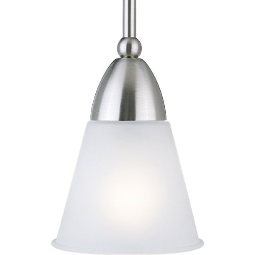 Progress Lighting P5042-09 1-Light Stem-Hung Mini-Pendant with Etched Glass, Brushed Nickel - Brushed Nickel 100w Stem