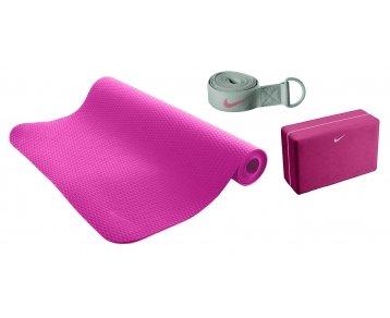Nike Essential Yoga Kit, 3 MM Mat, Block & Strap, Pink Nike Yoga Block