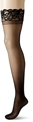 Dreamgirl Women's Plus-Size Silicone Lace Top Thigh-High, Black, Queen Size (Lace Thigh High Tights)