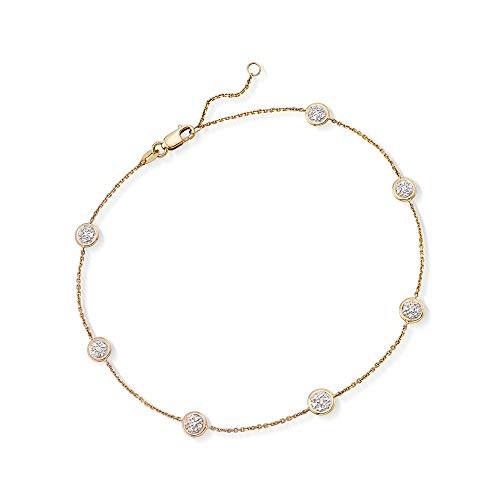 Ross-Simons 0.25 ct. t.w. Pave Diamond Station Anklet in 14kt Yellow Gold ()