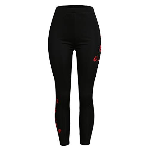 Farmerl Women's Plus Size Leggings High Waist Beaded Rose Applique Tights Pants