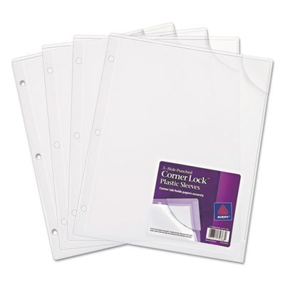 Plastic Binder Sleeve, Corner Lock, 4/PK, 20 pg Cap., Clear, Sold as 1 Package