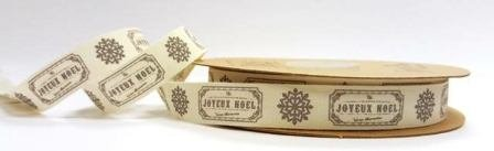 Vintage Joyeux Noel Print on 15mm Cotton Ribbon by Tilly's Trims on a 5m Roll   B012EGBB3W