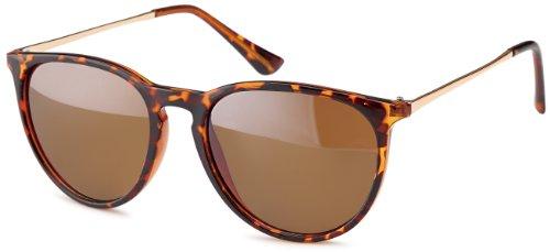 Vintage Sonnenbrille im angesagtem 60er Style mit trendigen bronzefarbenden Metallbügeln