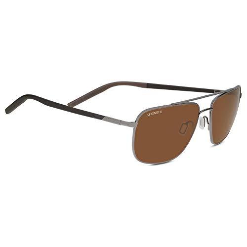 (Seregenti Tellaro Sunglasses, Shiny Gun Metal/Dark Brown/Chocolate Brown Frame, Polarized Drivers Lens)