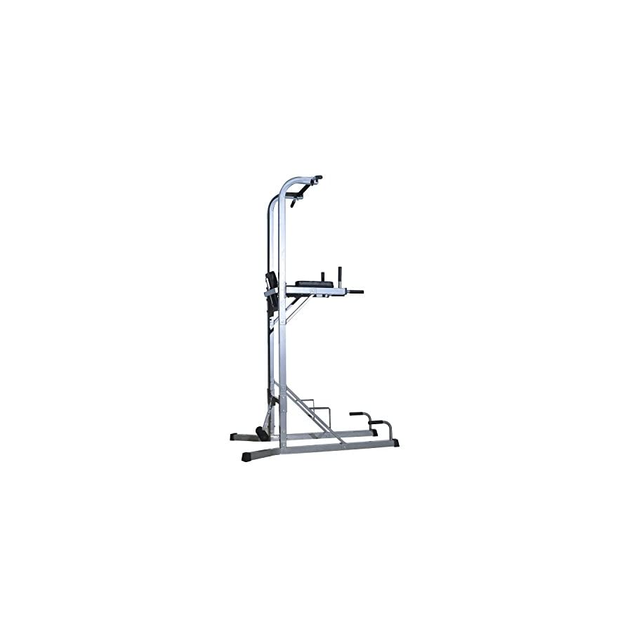 """Soozier 86"""" Adjustable Power Tower Home Fitness Station Silver/Black"""