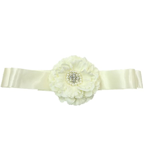 Flower Girls Sash Belt with Bead Wedding Gown Sash Peony Flower Silk Belt JB24 ()