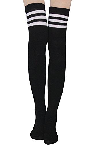 Womens Stripe Thigh High Socks - Leg Warmer Dresses Over Knee High Stockings Cosplay Socks