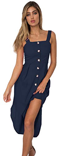 Womens Skater Dress Casual Sleeveless Summer Beach Flowy Swing T-Shirt Simple Tank Dress for Women Navy Size XL
