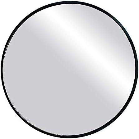 oruii Black Round Wall Mirror, 20 inch Metal Frame Bathroom Mirror, Circular Wall Mounted Mirror for Living Room, Bedroom, Vanity Room, Entryway, Hallway.
