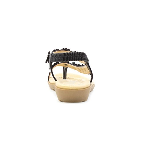 Sandal Flat Trim Lilley Black Black Lace Womens Flower 1xqx76gz