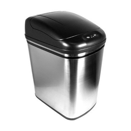 6 Gallon Hygiene Touch-Free Stainless Steel Wireless Lidded Trash Can (ZT241) (6 Stainless Steel Trash Ring)