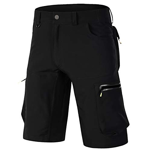 OUTTO Men's Mountain Bike Shorts Road Cycling Loose Casual MTB Clothing (38-40, 1809 Plain Black)
