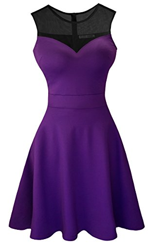 Sylvestidoso Women's A-Line Sleeveless Pleated Little Purple Cocktail Party Dress with Black Mesh (XXL, Purple)
