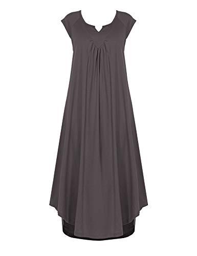 (Ekouaer Sleepwear Cotton v Neck Pajamas Cap Sleeve Sleep Dress Long Nightgowns Dark Grey)