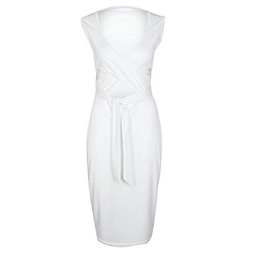JIZHI Mujer Básico/Chic De Calle Vaina Vestido Un Color Midi,White,L