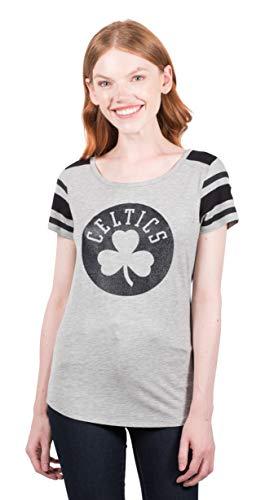 (NBA Boston Celtics Women's T-Shirt Box Out Varsity Stripe Tee Shirt, Small, Gray)
