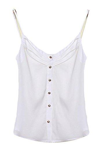 Button Cami (Pivaconis Women's Spaghetti Strap Button Front Chiffon Cami Tank Tops Blouse White S)