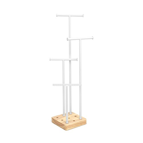 Umbra Acro Jewelry Tree Stand - Custom Jewelry organizer With 4 Removable Posts- White/Natural