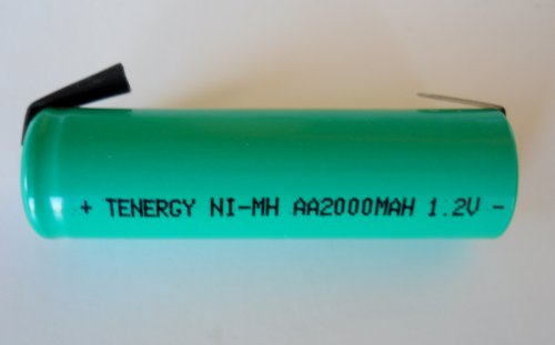 Combo:12 Pack AA 1.2V NiMh 2000 mAh Flat Top Rechargeable Batteries with Solder Tabs by Tenergy