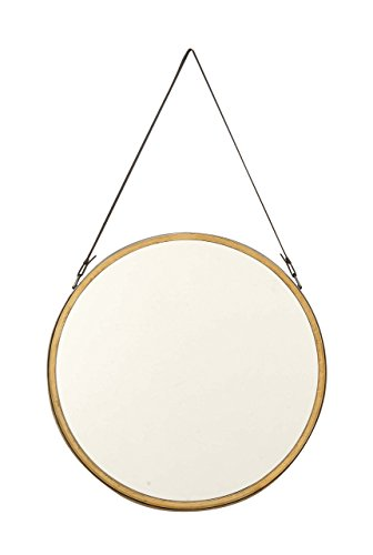 Deco 79 98730 Round Metal Wall Mirror, Gold/Black - Dimensions: 20X2X33 Dimensions 2: FRAME 20X2X20 Dimensions 3: MIRROR 18X18 - bathroom-mirrors, bathroom-accessories, bathroom - 31VL9P1WMZL -