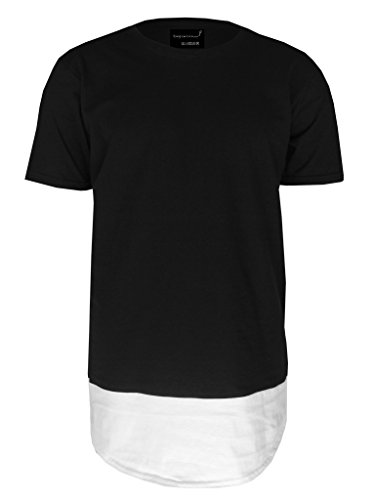 Be Famous Round Oversized Long 2-Panel T-Shirt black/white