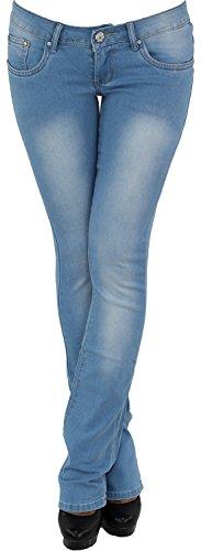 Mujer Impacto Pantalón Strech cadera vaqueros Barco Cut Impacto Strech cadera–Pantalones vaqueros Azul Azul