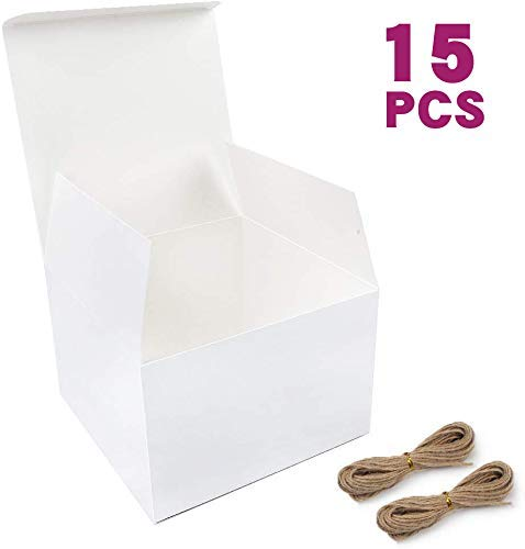 Moretoes White Boxes Gift Boxes 15pcs 6x6x4 Inches, Paper Gift Boxes with Lids for Gifts, Bridesmaid Proposal Box, Birthday Party, Crafting