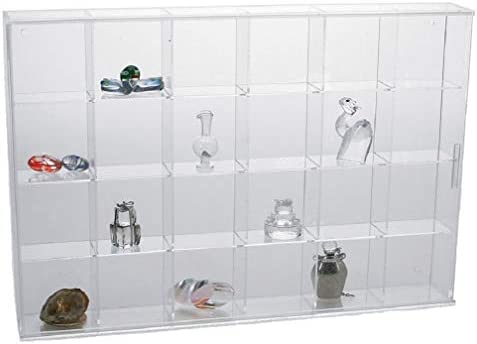 SAFE Rock Display Case-Acrylic Glass Curio w 24 Compartments
