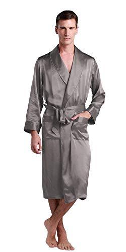 Loungewear Leggero Seta Tinta Unita Semplice Primavera Estate Di Homewear Accappatoio Grau Confortevole Bagno 100 Uomo Vestaglia Stile Gelso wU7RX1Oq