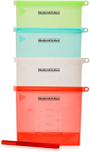 ModernKitchen Reusable Silicone Food Storage Bags - Eco Friendly Sandwich, Snack Bag, Dishwasher Safe, Quart Size (4pack)