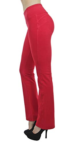 Shaping Pull On Butt Lift Push Up Yoga Pants Stretch French Terry Flare Jeans in Red Size S