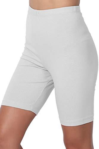 Elastic Waist Stretch Leggings - TheMogan Women's Mid Thigh Cotton High Waist Active Short Leggings Grey Mist 1XL