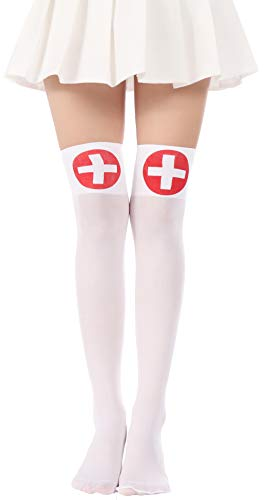 Women Halloween Thigh High Long Stockings Over Knee Costume St. Patrick's Day Tights (24-White Cross)