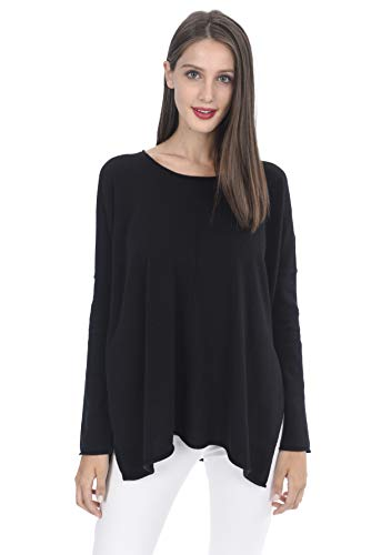 State Cashmere Women's 100% Pure Cashmere Round-Neck Back Oversize Pullover Sweater (One Size, - Sweater Round Cashmere Neck
