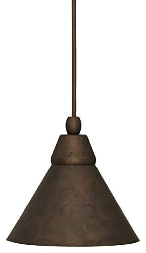 Toltec Lighting 22-BRZ-421 Cord Mini Pendant with 7″ Bronze Cone Metal Shade, Bronze Finish