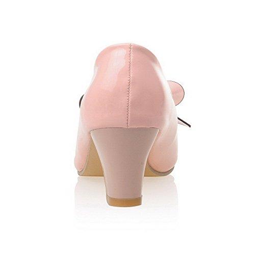 Medio Rosa Maiale Punta Pelle Tacco Tirare Tonda di Ballerine Donna Colore VogueZone009 Assortito B87xwWnSB
