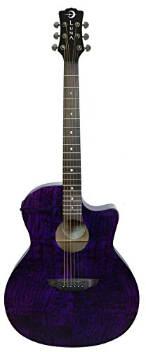 Luna GYP E QA TPP Acoustic-Electric Guitar, Trans Purple