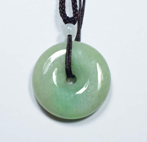 gojade Certified Green Natural A Jade Jadeite Pendant Circle Donut 平安扣 701906