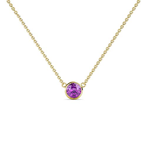 TriJewels Round Amethyst 0.33 ct Bezel Set 4.4mm Womens Solitaire Pendant Necklace 14K Yellow Gold with 16 Inches Gold Chain