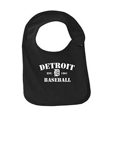 Detroit Baseball Funny Infant Jersey Bib Black One Size