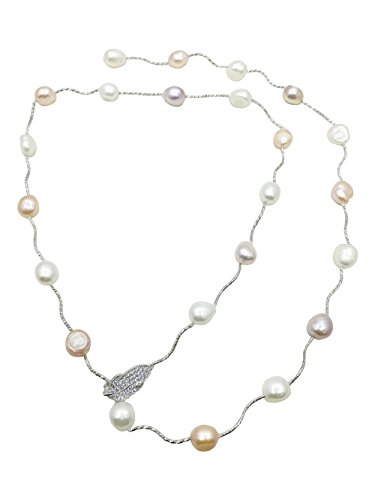 Silver Single Strand Necklace (Rolicia Single String Freshwater Cultured Pearl Necklace Gift Box (Silver Multicolor))
