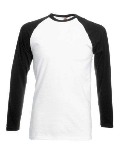 (FOTL - Top de sport - Col rond - Manches longues Homme - Multicolore - Multicoloured (White/Black) - Large)