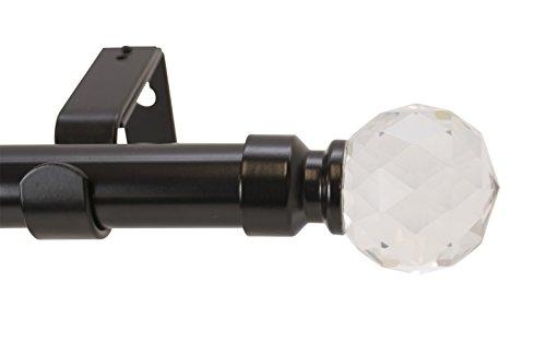 Meriville Scati 1-Inch Diameter Single Window Treatment Curtain Rod, Crystal Finial, 28-inch to 48-inch Adjustable, Black
