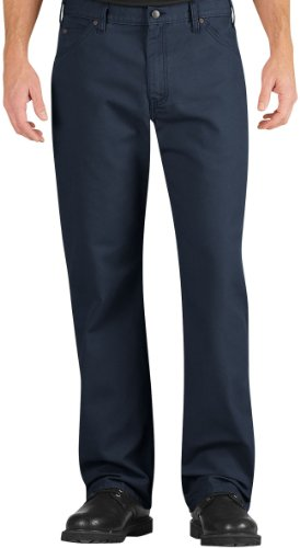 Dickies Occupational Workwear LU239RNV3430 LU239 Industrial Relaxed Fit Straight Leg Carpenter Duck Jean, Fabric, 34
