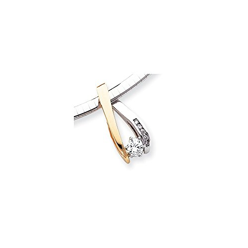 Bonyak Jewelry 14k Two-Tone Peg Set Slide Mounting in 14k Yellow and White - Mounting Two Gold Tone