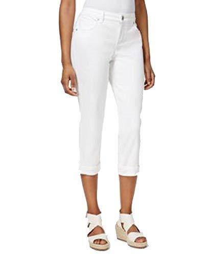 (Style&Co Petite Tummy-Control Cuffed Capri Jeans (Bright White, 12P))