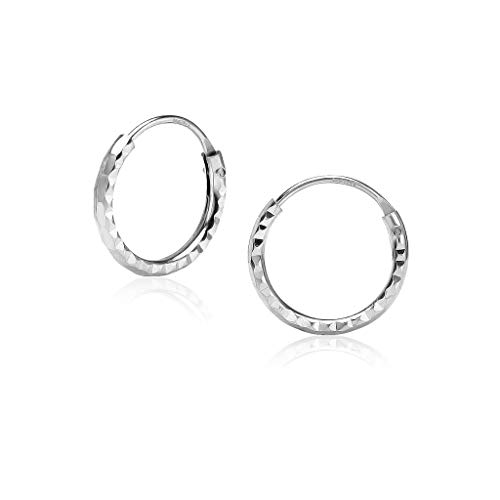 Sterling Silver Diamond-Cut Tiny Small Endless Hoop Earrings 1.2mm x 10mm Lightweight Unisex