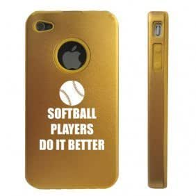 Apple iPhone 4 4S Gold D7300 Aluminum & Silicone Case Cover Softball Players Do It Better